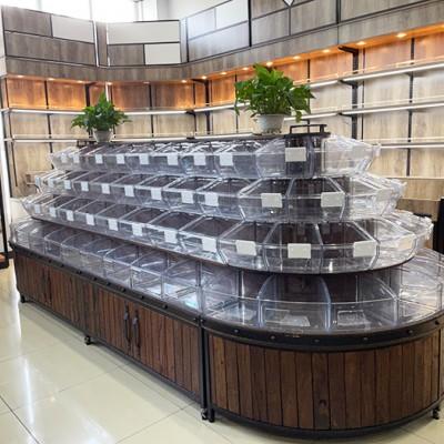 厂家定制货架 超市钢木货架 五谷杂粮柜 散装干货柜